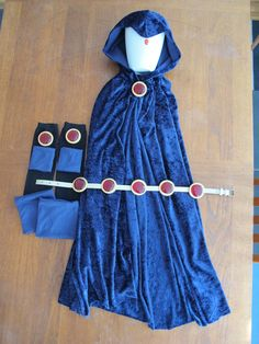 Teen Titans Raven Custom Costume Pieces (cape, belt, jewels, gauntlets, and boot cuffs)