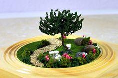 kleine gärten rund pfad baum sitzbank
