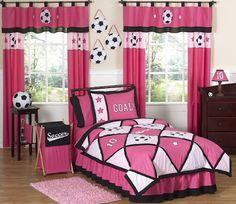 girls soccer bedroom  | Pink Soccer Bedding for Girls Twin Full/Queen Comforter Sets, Sheets ...