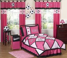 girls soccer bedroom  | Pink Soccer Bedding for Girls Twin Full/Queen Comforter Sets, Sheets ...