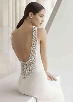 Wedding Dress KISSA by Rosa Clará - Search our photo gallery for pictures of wedding dresses by Rosa Clará. Find the perfect dress with recent Rosa Clará photos. Rosa Clara Wedding Dresses, Stunning Wedding Dresses, Wedding Dresses Photos, Colored Wedding Dresses, Bridal Dresses, Boat Neck Wedding Dress, Art Deco Wedding Dress, Wedding Dress Sewing Patterns, Wedding Dress Accessories