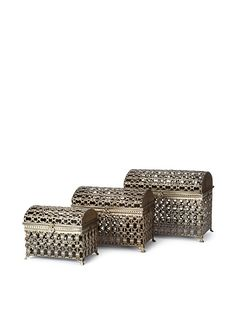 """Chain-pattern hammered metal with antiqued powder-coat finish, large is 19""""h x 23.75""""w x 13.5""""d, medium is 15.5""""h x 20.5""""w x 12.5""""d, small is 12.75""""h x 16.25""""w x 10.5""""d"""