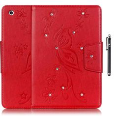 iPad 2/3/4 Case,E-Venis[Auto Sleep/Wake Feater]Bling Crystal Rhinestone Premium PU Leather Magnetic Design Case Flip Folio Kickstand Cover Case for iPad 2/3/4 with Stylus Pen(Red) >>> See this great image  : Utensil Organizers