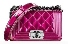 Chanel Small Patent Boy Bag Pink