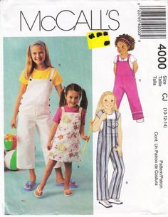 McCalls 4000 Girls' Jumper Dress & Jumpsuit, Romper Sewing Pattern 10-14 Uncut