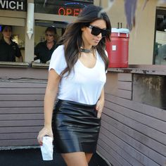 A Kim K Look We Never Tire Of: Black Leather Skirt and a White Tee