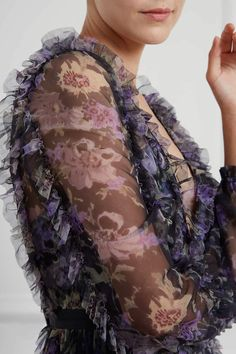 New Season Lilacs Garland V-Neck Gown in Graphite Sequin Cape, Sequin Gown, Needle And Thread Dresses, Tulle Bows, Floral Gown, Layered Skirt, Lilacs, Fitted Bodice