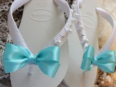 Items similar to Bride flip flops with crystals and pearls. Aqua blue bow fall wedding shoes, bridal sandals, slippers, bride gift on Etsy Fall Wedding Shoes, Blue Bridal Shoes, Bridal Sandals, Bridal Shower Prizes, Bridal Shower Cupcakes, Bridal Gifts For Bride, Bridal Bouquet Coral, Bridal Flip Flops, Disney Bridal Showers