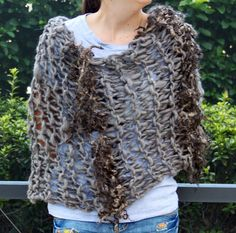 Hand Knit Bulky Shawl Poncho in Natural Color Gray by bpenatzer, $146.00