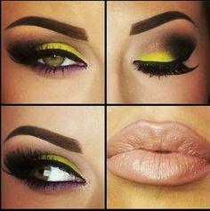 Lime green smokey eyes