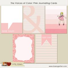 """Printable Journaling Cards """"The Voices of color"""" Pink - Project Life"""