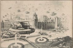Peak Hour, 1970; A vision of future Melbourne by C.F.Beauvais in 1943
