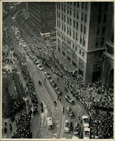 """October 1948 - The City of Cleveland celebrate their Indians winning the 1948 World Series in six games over the Boston Braves. It was estimated between fans lined the streets to cheer their diamond heroes"" Downtown Cleveland, Cleveland Rocks, Cincinnati, Ohio Image, Brave, Cleveland Indians Baseball, Boston, Old Pictures, City Photo"