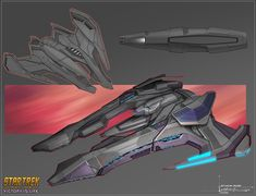 Designed for Star Trek Online expansion: Victory is Life. A departure from the usual Jem'Hadar design canon, this ship was designed to look like a specialized version of the more familiar ships from the TV series. Star Trek Online, Star Citizen, Vaisseau Star Trek, Trek Deck, Starfleet Ships, Starship Concept, Sci Fi Spaceships, Capital Ship, Studios
