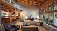 Clerestory Windows  Contemporary Living Room with Sloped Ceiling
