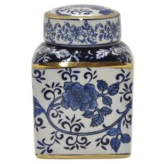 Add a pretty look to your dining space by selecting this amazing THREE HANDS Ceramic Blue and White Jar with Gold in Porcelain-Ceramic. Decorated Jars, Modern Materials, Porcelain Ceramics, Season Colors, Memorable Gifts, White Porcelain, Gold Accents, Accent Pieces, Decorative Accessories