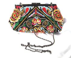Muti-colored Ethnic Clutch Purse - Embroidered Bag in Black & Various Bright Colors Lined in Red on Antique Silver Frame