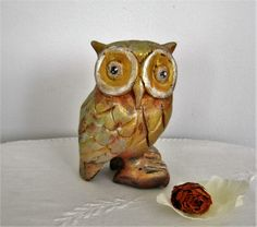 Wooden sculpture representing an OWL painted and patinated (32.00 EUR) by Syell