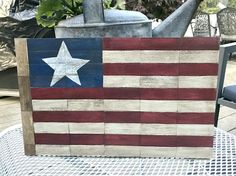 DIY Rustic American Flag using game pieces!