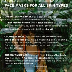 """""""3 Face Mask for Different Skin Types """""""