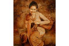 new ideas tattoo girl art sketch Bali Painting, Flower Painting Canvas, Woman Painting, Paintings Famous, Great Paintings, Laos, Indonesian Art, Realism Art, Illustration Artists