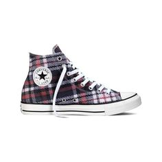 Converse Chuck Taylor All Star Plaid High - Black/Red/White Casual... ($46) ❤ liked on Polyvore featuring shoes, sneakers, casual footwear, casual shoes, black white shoes, sport shoes, red black sneakers, red sneakers and plaid sneakers
