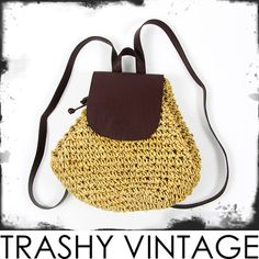 vtg 90s boho brown FAUX LEATHER & WOVEN STRAW small BACKPACK RUCKSACK bag purse $18.00