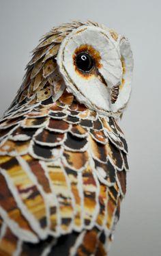 Barn Owl paper sculpture by Suzanne Breakwell www.suzannebreakwell.com