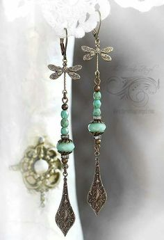 Dragonfly Long Drop Earrings.