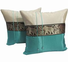 2 BEAUTIFUL BIG ELEPHANT THROW CUSHION COVER/PILLOW CASE HANDMADE BY THAI SILK ON SELL WITH COMPLIMENTARY: Amazon.co.uk: Kitchen & Home
