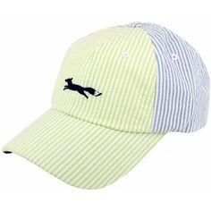Longshanks Seersucker Trucker Hat in Lime and Light Blue by Country Club Prep