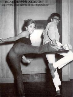 SHARON TATE Taking karate lessons from BRUCE LEE about 1967. Given her tragic murder these moves were useless.