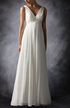 A-line V-neck Sweep/ Brush Train Applique Chiffon Wedding Gowns Wedding Gowns - Outerdress.com
