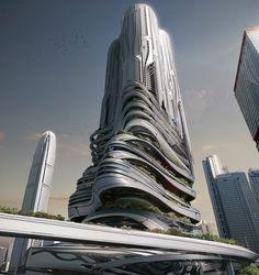 Honorable Mention. PieXus Tower: Maritime Transportation Hub Skyscraper For Hong Kong. Chris Thackrey, Steven Ma, Bao An Nguyen Phuoc, Christos Koukis, Matus Nedecky, Stefan Turcovsky (United States)  #architecture ☮k☮