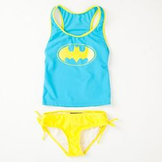 {Little Girls Two Piece Bat Girl Bathing Suit} honestly, if this was in adult sizes, I'd probably wear one. 'cause ... Batgirl.