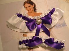 Wedding Garter Set Purple and White Garter Set Bridal by Bridalbee, $30.00