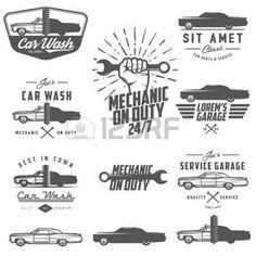 auto repair shop: Set of car service labels, emblems and design elements