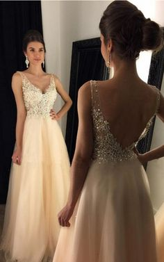V-Neck Appliques Beaded Long A-line Tulle Prom Dresses, #prom #promdress #dress #eveningdress #evening #fashion #love #shopping #art #dress #women #mermaid #SEXY #SexyGirl #PromDresses