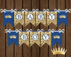 Niño Príncipe bandera DIY Príncipe Baby Shower por SweetPartyWishes