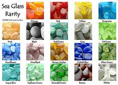 Sea glass desirability and rarity is most often all about color. We've studied tens of thousands of pieces, collaborated with sea glass experts and spent some serious years hunting the globe on our own, to develop this beach glass color chart. Collectors all over the world use it as a resource. It reads from left to right, top to bottom.   Though much about color rarity is regionally influenced, so where one is collecting has a vast impact on what colors one might find. In general, orange...