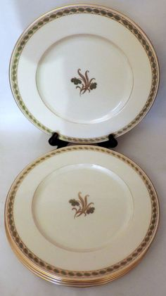Retired Lenox PINE China Trio Cup & Saucer Salad Plate W-331 Gold ...