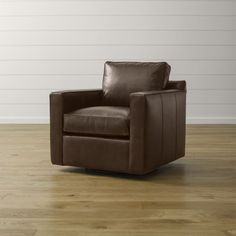 Davis Leather Swivel Chair | Crate and Barrel