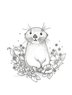 39 Ideas Flowers Illustration Line Art Prints Ferret Tattoo, Otter Tattoo, Animal Drawings, Art Drawings, Serpentina, Motifs Animal, Animal Tattoos, Illustrations, Otters