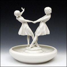 Hutschenreuther Figurine by Carl Werner - Dancing Women / Girls with Flower Frog Base