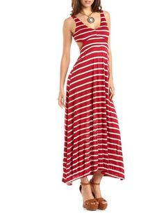 Open Back Striped Maxi Dress