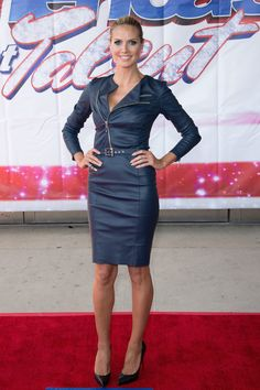 Heidi Klum wowed in a leather Thomas Wylde biker dress and sky-high stilettos at an event for Americas Got Talent. Leather Dresses, Leather Skirt, Leder Outfits, Mein Style, Sexy Skirt, Dress For Success, Heidi Klum, Leather Fashion, Gorgeous Women