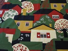 "Vintage Finnish Tampella fabric ""Talot"""