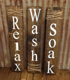 Set of three Rustic Bathroom Signs by RiOakWesternDesign on Etsy