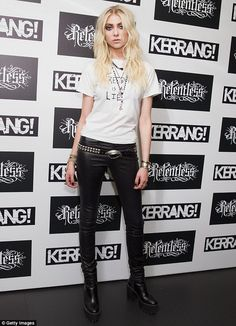 Grungy glamour: Taylor Momsen poses for photos backstage at the Relentless Kerrang! Awards 2014 in London on Thursday evening