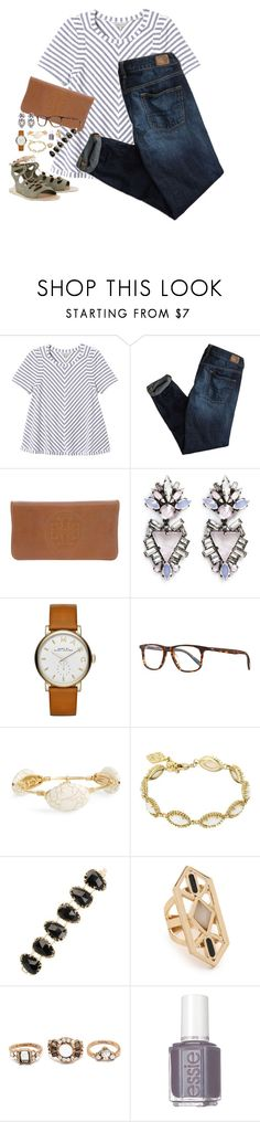 """Spring stripes"" by classycathleen ❤ liked on Polyvore featuring Rebecca Taylor, American Eagle Outfitters, Tory Burch, Erickson Beamon, Marc by Marc Jacobs, Oliver Peoples, Bourbon and Boweties, Kendra Scott, Jules Smith and Forever 21"